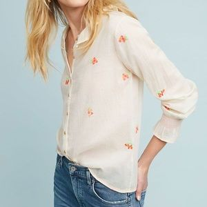 Anthropologie Grace Embroidered Buttondown